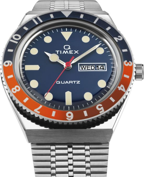 Q Timex with New Colours 2020 - Blue dial with blue-orange bezel ring 1