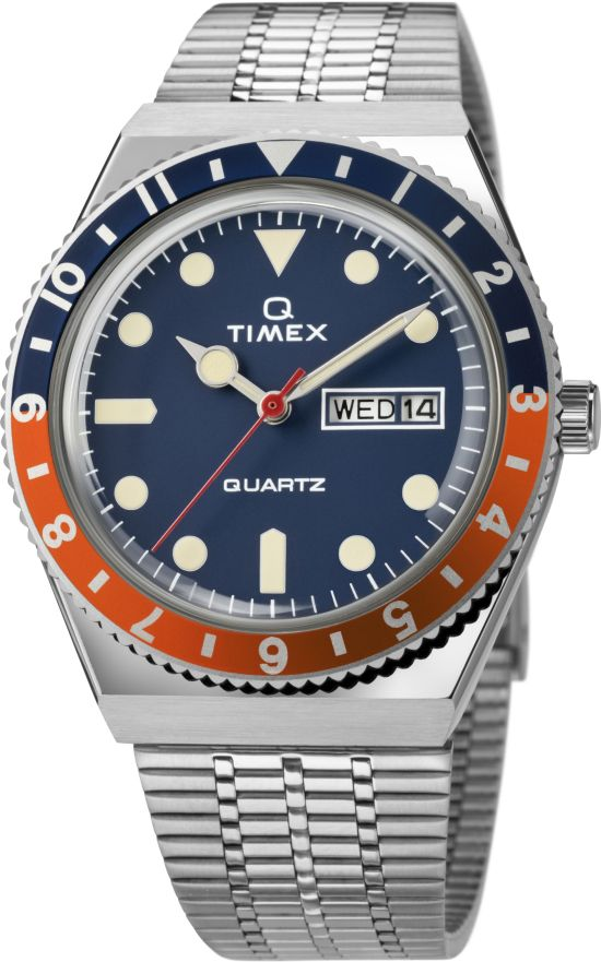 Q Timex new variant with blue dial with blue-orange bezel ring