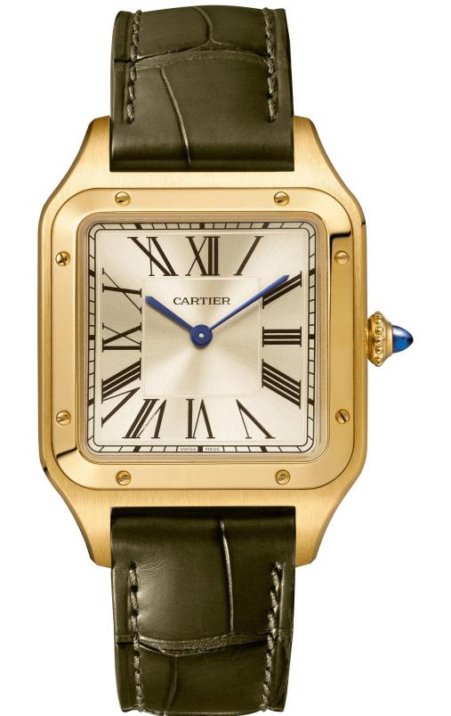 """The """"La Baladeuse"""" Santos-Dumont watch: Large model, 43.5 x 31.4 mm, thickness: 7.3 mm; 18K yellow gold; Crown set with a sapphire cabochon; Green alligator leather strap; Limited and numbered edition of 300 pieces"""