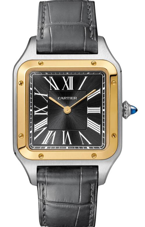 """The """"n°14 bis"""" Santos-Dumont watch: Large model, 43.5 x 31.4 mm, thickness: 7.3 mm; 18K yellow gold and steel; Crown set with a blue synthetic spinel cabochon; Grey alligator leather strap; Limited edition of 500 pieces"""
