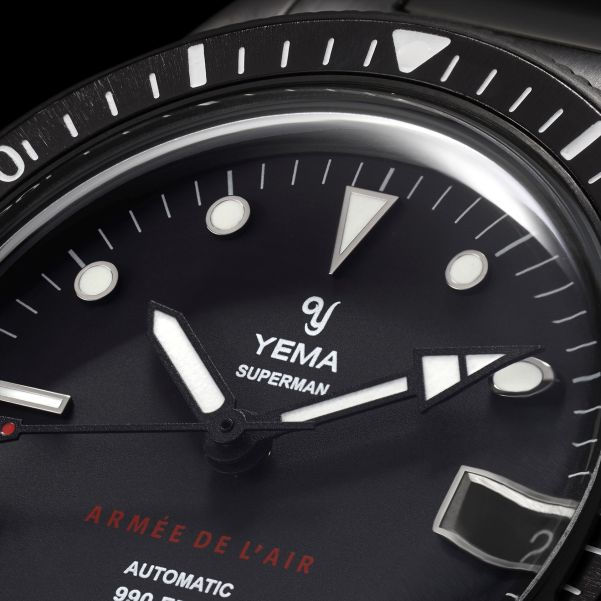 YEMA Superman French Air Force Collection dial and hands