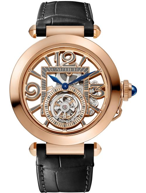 PASHA DE CARTIER WATCH: 41 mm, thickness: 10.45 mm; 18K pink gold; Crown set with a sapphire cabochon; Interchangeable QuickSwith grey and black alligator leather straps; Manufacture mechanical movement with manual winding 9466 MC, Tourbillon, skeleton