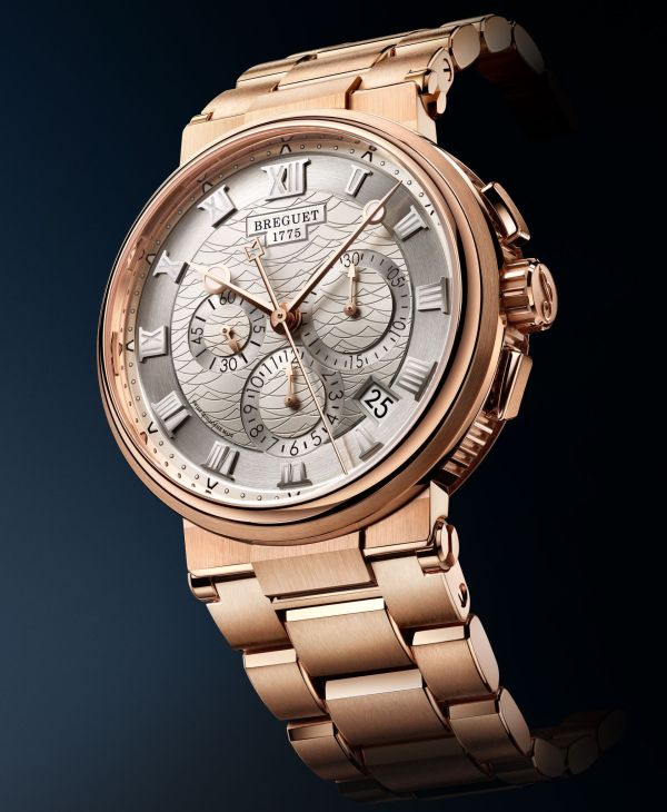 Breguet Marine Chronographe 5527 rose gold version with bracelet, Reference 5527BR/12/RW0