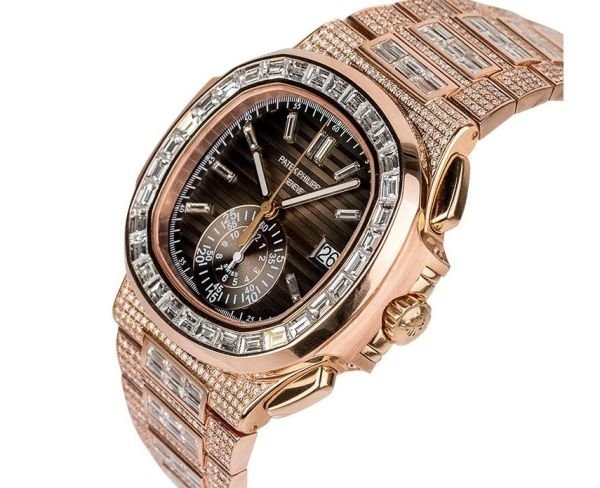 Custom Diamond Set Rose Gold Patek Philippe Nautilus 5980 by TIME 4 DIAMONDS