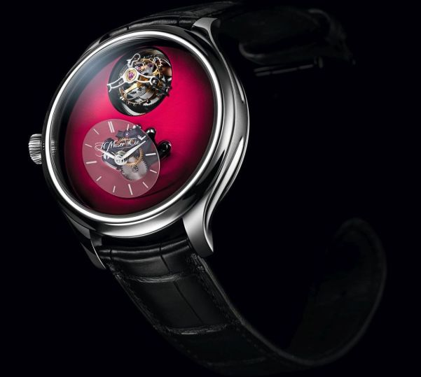 Endeavour Cylindrical Tourbillon H. Moser X MB&F Limited edition with Burgundy fumé dial