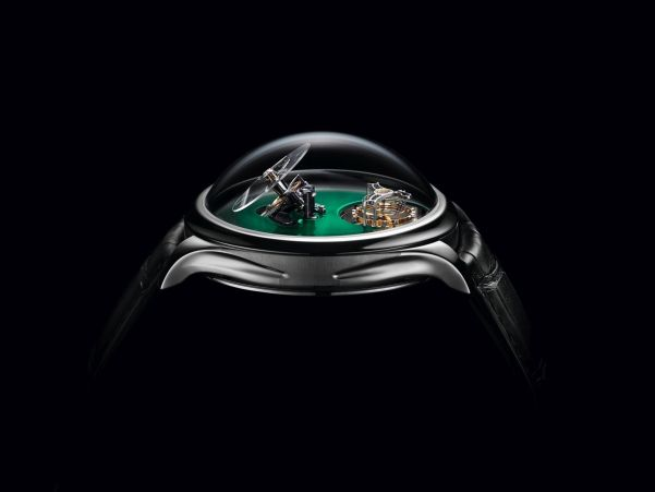 Endeavour Cylindrical Tourbillon H. Moser X MB&F Limited edition with Cosmic Green fumé dial