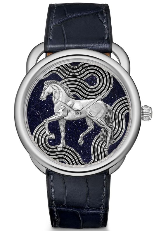 Hermes ARCEAU Cheval Cosmique white gold version with Aventurine dial