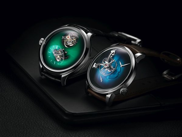 Left: Endeavour Cylindrical Tourbillon H. Moser X MB&F Limited Edition with Cosmic Green fume dial; Right: LM101 MB&F X H. Moser Limited Edition with Funky Blue fumé dial