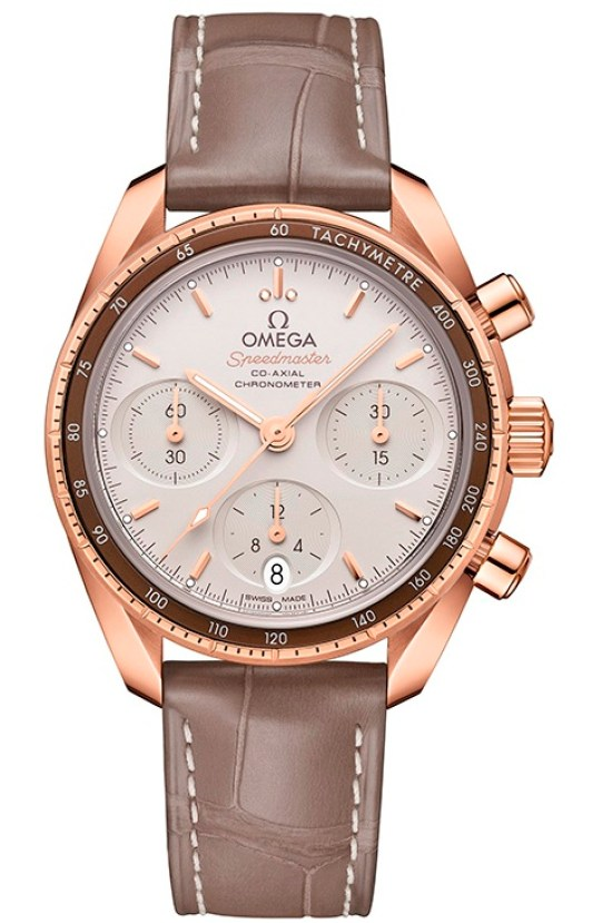 OMEGA Speedmaster 38 Co‑Axial Chronograph 38 mm, Ref. 324.63.38.50.02.003: Sedna™ gold model with creamy silvery dial and taupe-brown leather strap