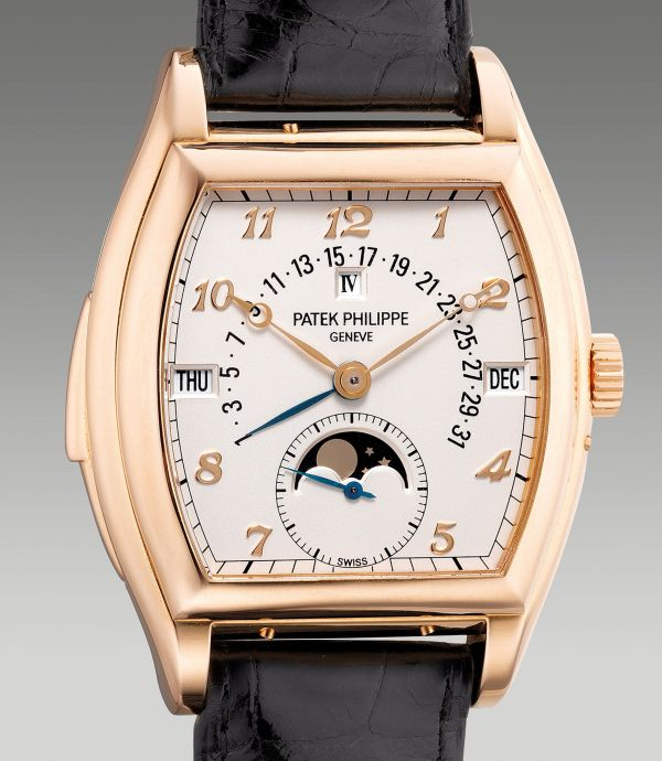 Patek Philippe Reference 5013R from 2000, pink gold tonneau-shaped minute repeating perpetual calendar wristwatch with moon phases, retrograde date, leap year indication and Breguet numerals. Estimate: HKD 1,800,000-3,000,000