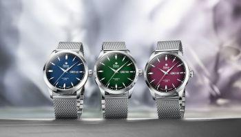 Tutima Sky with mesh bracelet: Left: blue dégradé dial, ref. no. 6105-22. Centre: green dégradé dial, ref. no. 6105-24. Right: red dégradé dial, ref. no. 6105-26.