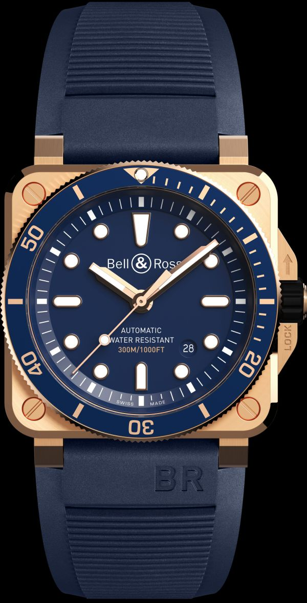 Bell & Ross BR03-92 Diver Blue Bronze Limited Edition watch with rubber strap