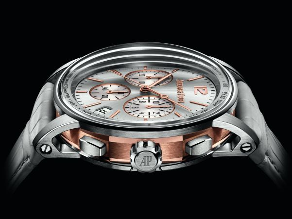 Code 11.59 by Audemars Piguet Self-winding Chronograph gold Bi-color case Grey lacquered dial with sunburst pattern