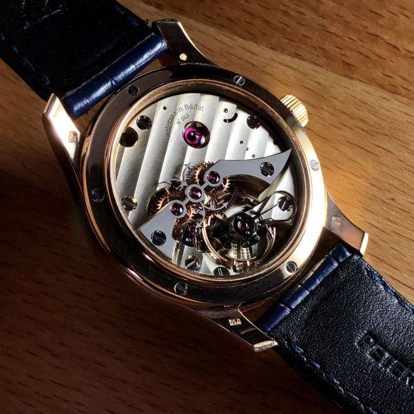 Petermann Bédat 1967 hand-wound watch with dead beat seconds