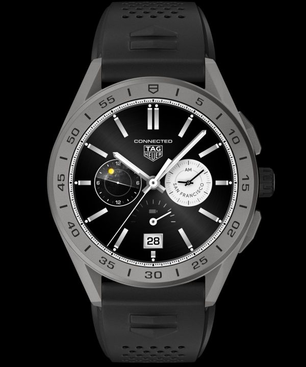 Reference SBG8A81.BT6222: TAG Heuer Connected 45 mm, titanium case, black rubber strap