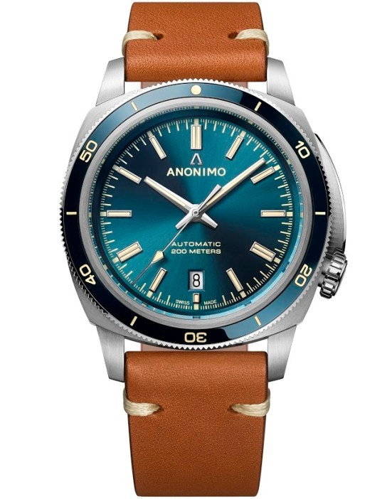 "ANONIMO New NAUTILO Vintage collection AM-5019.06.103.I12: Stainless steel case, Sunray blue dial, Calf leather Barenia ""gold"" strap"