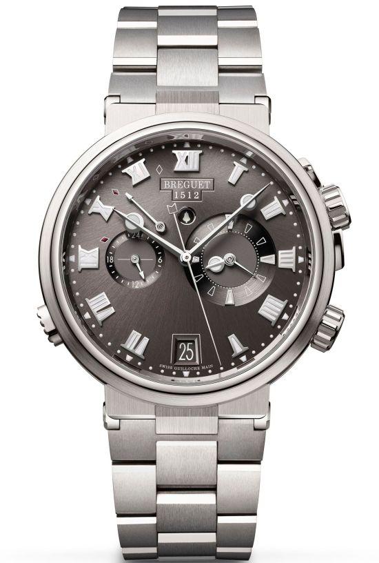 Breguet Marine Alarme Musicale 5547, Ref. 5547TI/G2/TZ0 (Titanium Case, Sunburst slate-gray dial and Titanium Bracelet)