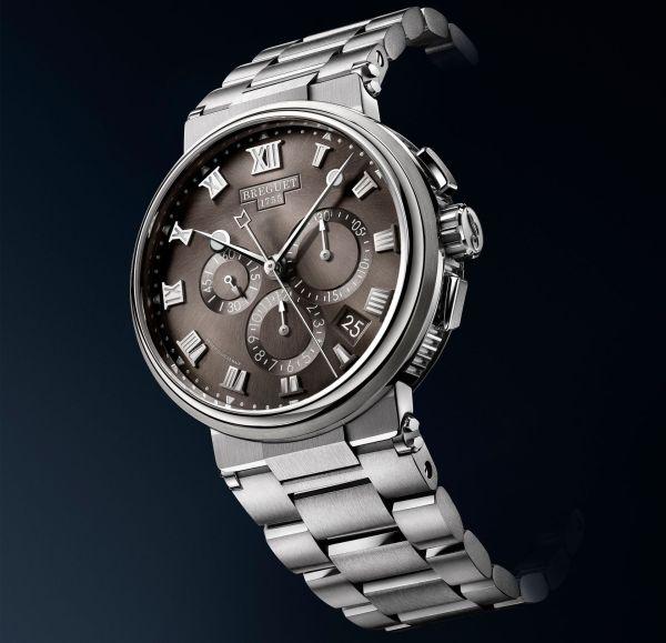 Breguet Marine Chronographe 552, 7 REF. 5527TI/G2/TW0 (Titanium Case, Sunburst slate-gray dial and Titanium Bracelet)