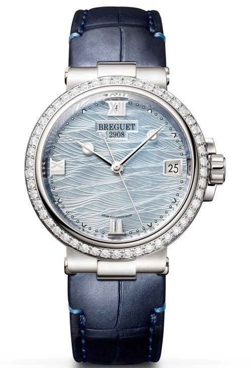 Model: Breguet Marine Dame 9518 Reference 9518BB/V2/984 D000(18 Carat White-Gold Case, Pale-blue mother-of-pearl engine-turned dial and Leather strap)