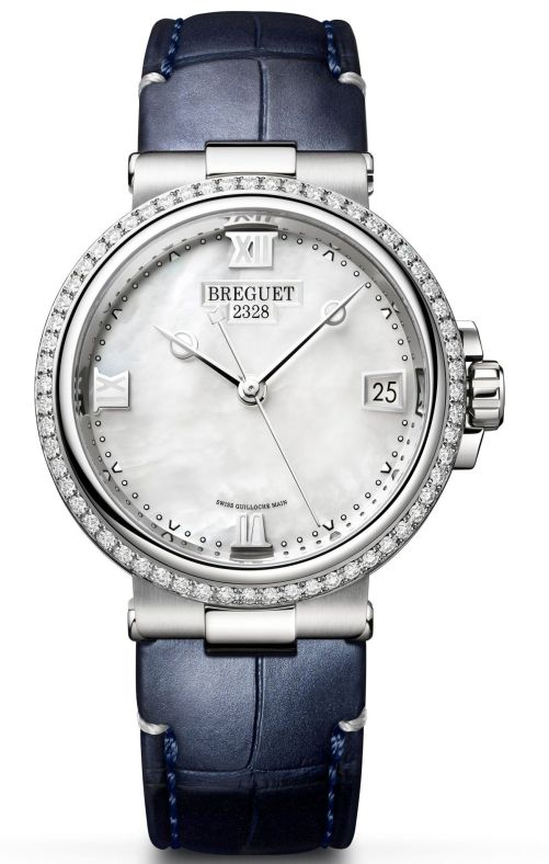 Model: Breguet Marine Dame 9518, Reference 9518ST/5W/984 D000, Steel Case, White mother-of-pearl dial and Leather strap