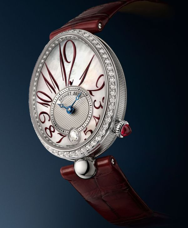 Breguet Reine de Naples 8918 (New Model: White Gold Case, Diamond Set Bezel and Silvered Gold Engine-turned Dial with White Mother-of-Pearl)