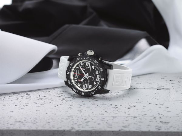 Breitling Endurance Pro with a white inner bezel and rubber strap