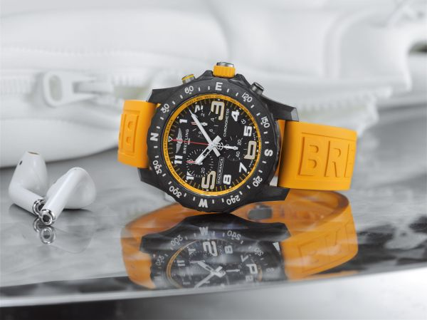 Breitling Endurance Pro with a yellow inner bezel and rubber strap