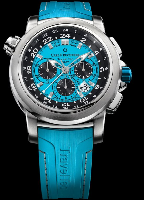 Carl F. Bucherer Patravi Traveltec Color Edition Four Seasons Ref. 00.10620.08.53.02 Stainless steel, blue dial, rubber