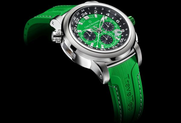 """Carl F. Bucherer Patravi Traveltec Color Edition Four Seasons """"Spring"""" Ref. 00.10620.08.93.02 Stainless steel, green dial, rubber"""
