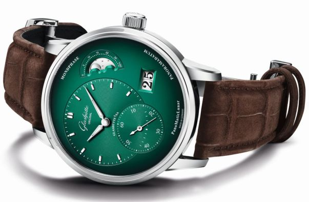 Glashütte Original PanoMaticLunar Forest Green new model 2020 with Varnished dial in green and black with dégradé effect
