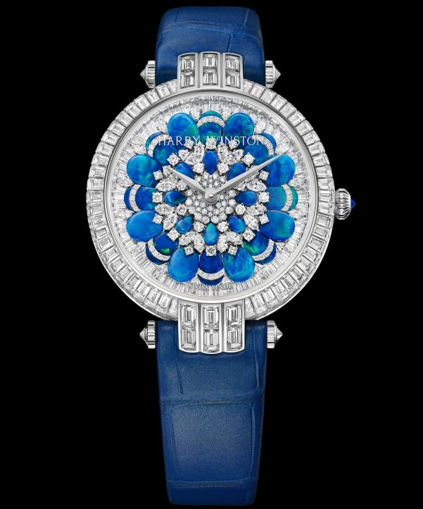 Harry Winston Premier Hypnotic Chrysanthemum Automatic 36mm, Version with blue tones: PRNAHM36WW028