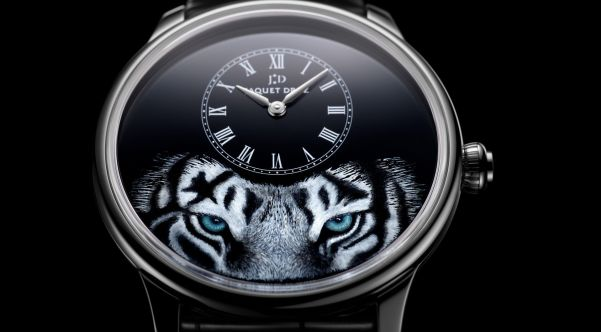 Jaquet Droz Petite Heure Minute Tiger 18-karat whitegold case with Black Grand Feu enamel dial with miniature painting