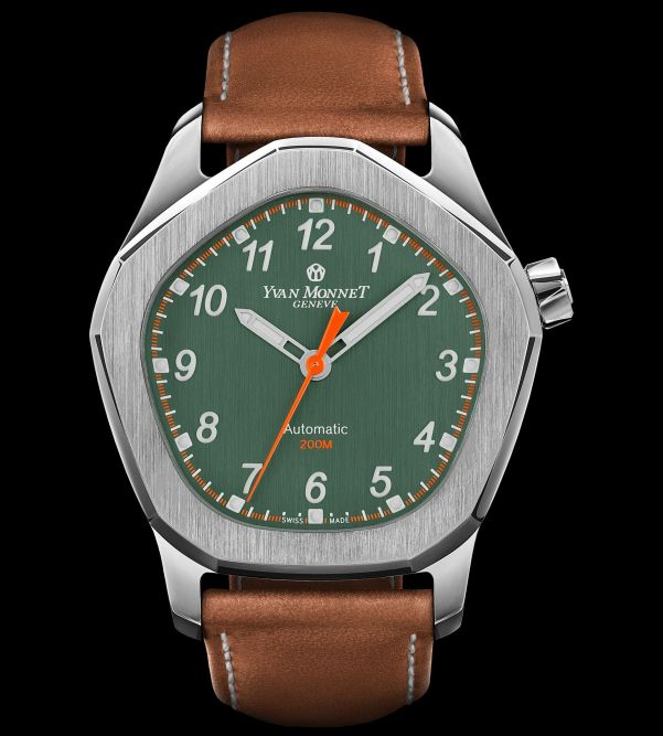 Yvan Monnet FIVE watch with Galvanic spruce green dial