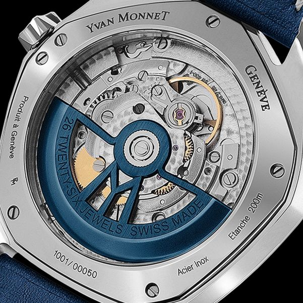 Yvan Monnet FIVE watch with Royal blue galvanic dial