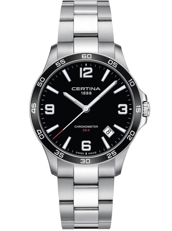 Certina DS-8 Black dial, black bezel, stainless steel case and bracelet