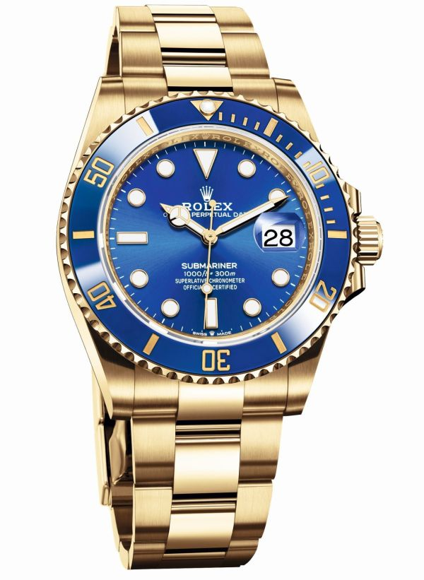 Rolex Oyster Perpetual Submariner Date in 18 ct yellow gold with a Blue Cerachrom bezel and a royal blue dial (Reference 126618LB)