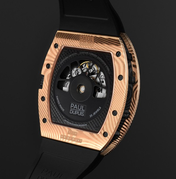 The Paul Dupuis DMS|001 watch with Rose Gold Damascus Steel Case - caseback view