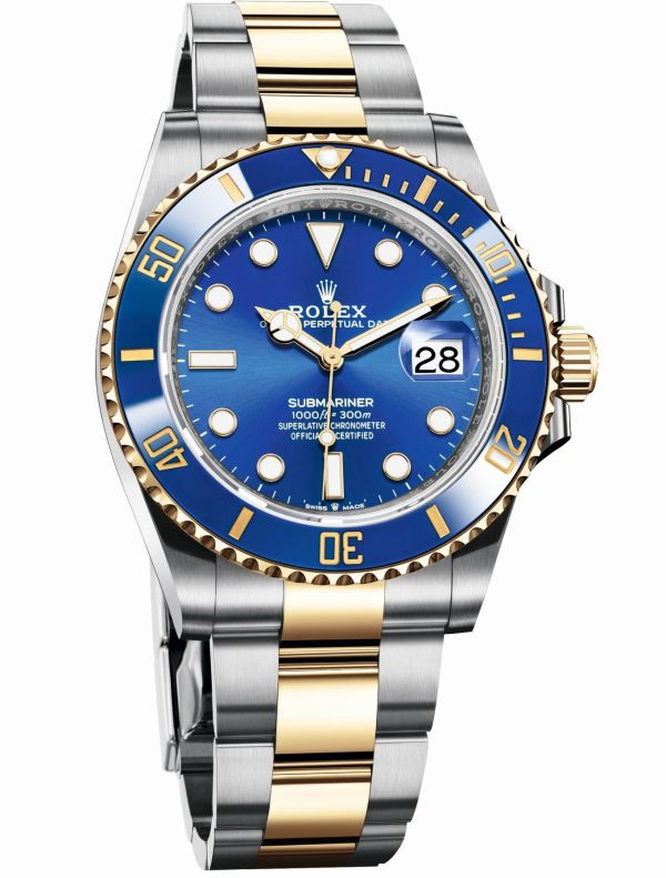 Rolex Oyster Perpetual Submariner Date in Yellow Rolesor with a Blue Cerachrom bezel and a royal blue dial, 41mm, Reference 126613LB