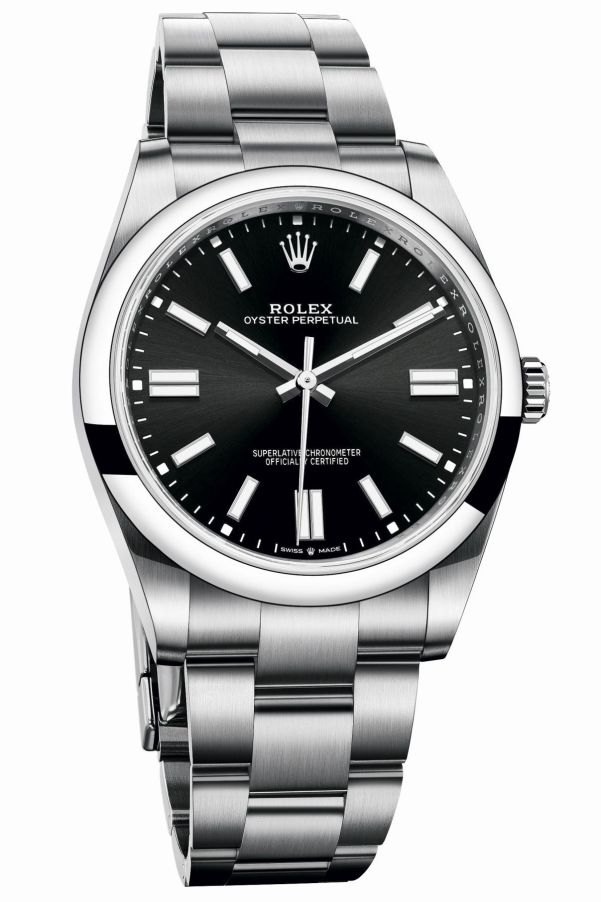 Rolex Oyster Perpetual 41 with Bright black, gloss, sunray finished dial