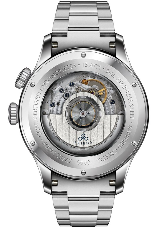 TRIBUS TRI-02 GMT 3 Timezone COSC watch caseback view stainless steel model