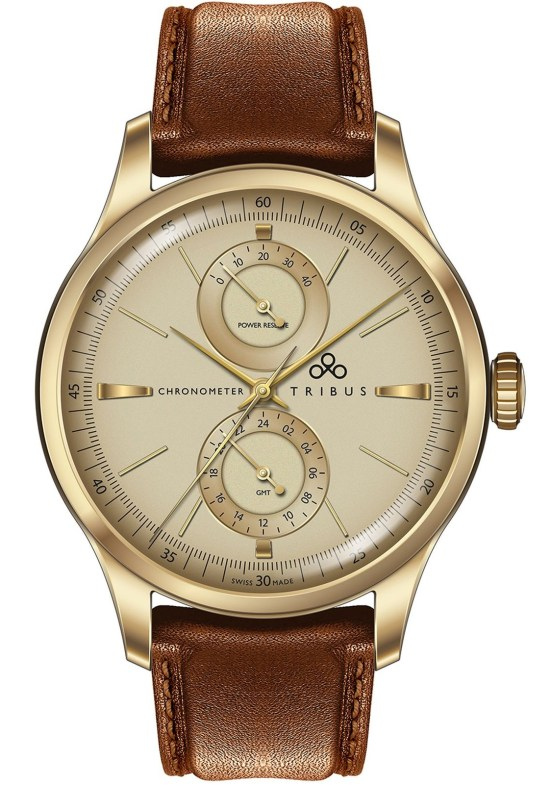 TRIBUS TRI-03 Power Reserve GMT COSC watch rose gold pvd case cream dial