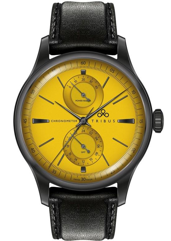 TRIBUS TRI-03 Power Reserve GMT COSC watch gun metal pvd case yellow dial
