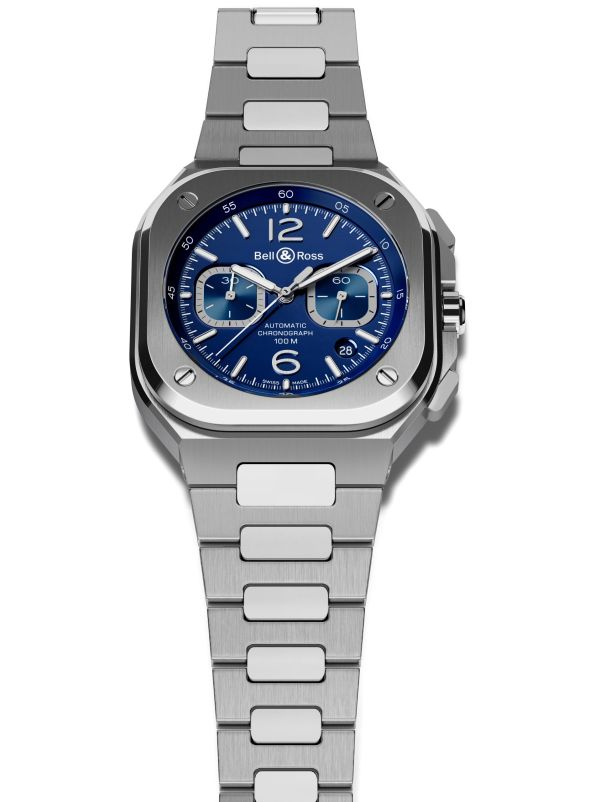 Bell & Ross BR 05 Chronograph blue dial version with integrated stainless steel bracelet