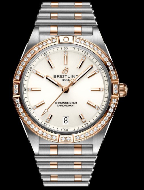 Breitling chronomat-automatic-36-in-bicolor-with-diamond-hour-markers-and-diamond-set-bezel_ref.-u10380591a1u1
