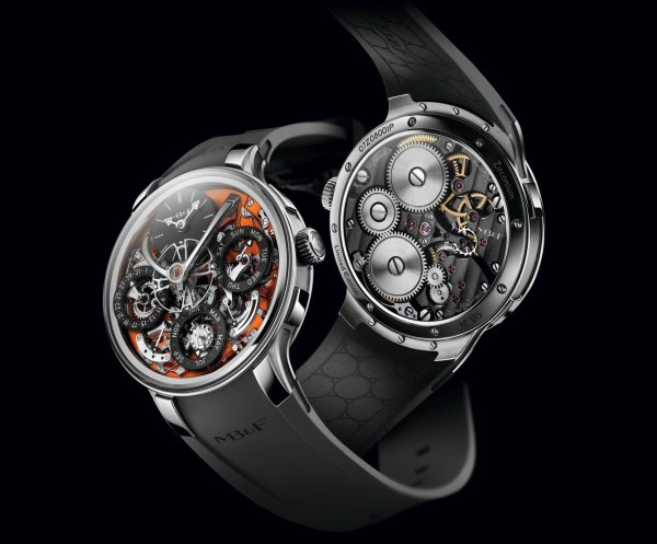 MB&F Legacy Machine Perpetual EVO watch with orange dial plate