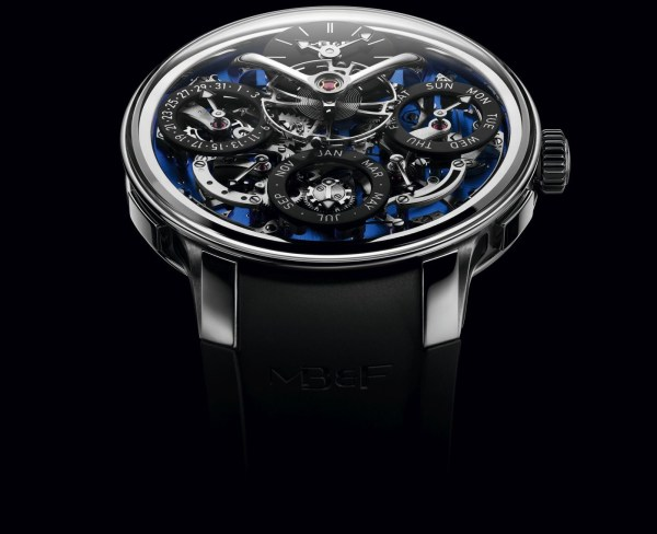MB&F Legacy Machine Perpetual EVO with blue dial plate and black strap