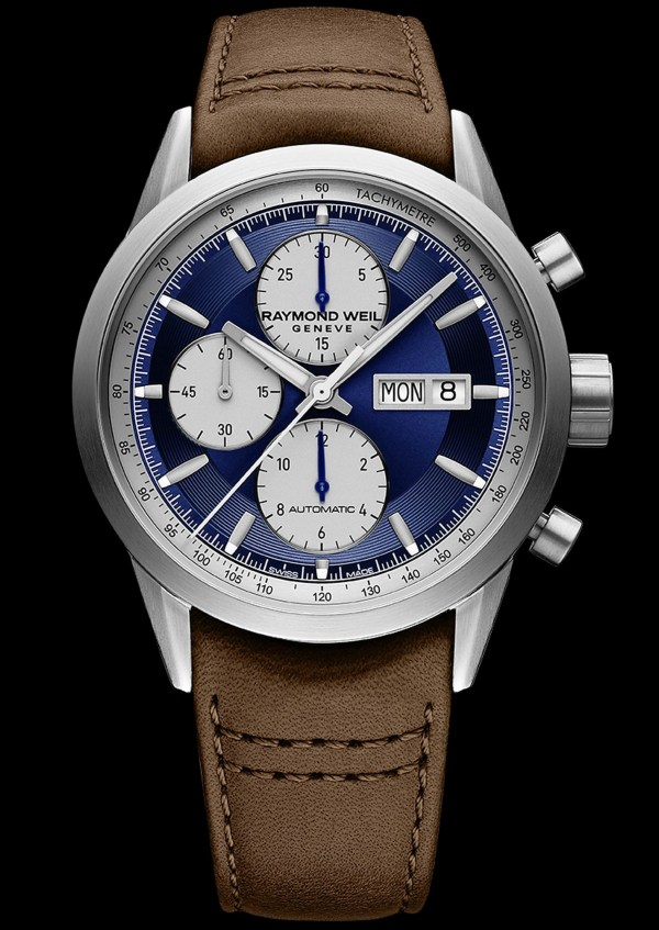 RAYMOND WEIL freelancer chronograph New Model with Deep Blue Satin-Brushed Dial