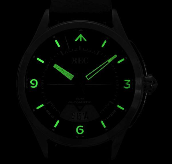 REC Watches RJM Collection lume shot