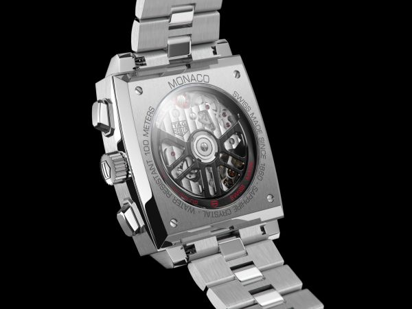 Tag Heuer Monaco Chronograph 39 mm Calibre Heuer 02 Automatic watch caseback view