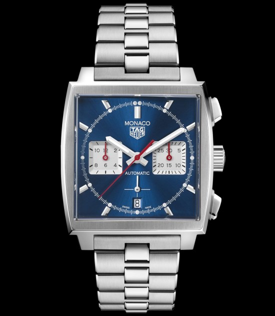 Tag Heuer Monaco Chronograph 39 mm Calibre Heuer 02 Automatic with blue dial and stainless steel bracelet